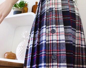 Vintage midi skirt high waisted tartan check plaid pleated school girl wool 6 8