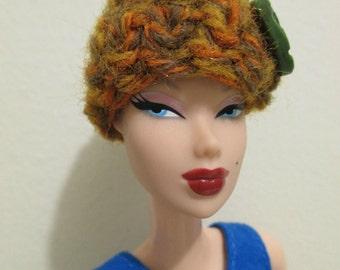 Crochet Rustic Orange With Green Button Winter Hat Barbie Doll fashion