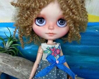 "BLYTHE DOLL Dress - OOAK -  ""Cross Stitch Garden"" vintage cross stitch bodice with dotted flock swiss skirt"
