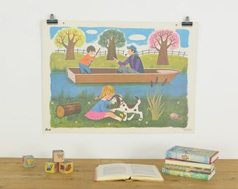 Vintage 1965 Fernand Nathan French School Poster/Print