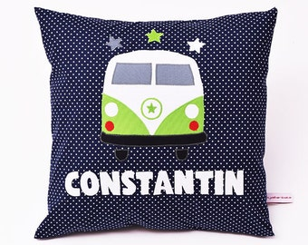 Bus pillow with name