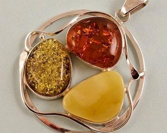 Handmade genuine Baltic amber sterling silver pendant
