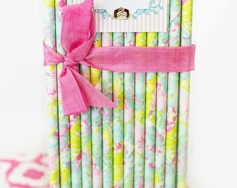 LILLY PULITZER -Mint straws -Hot pink straws -Straws, MINT *Paper Straws, Wedding *Birthday *Party Supplies *Lime Green *Pink *Flamingo