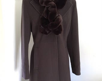 Vintage Wool and Cashmere Fit and Flare Coat, Victorian, Riding Coat,