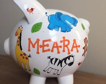 Personalized Jungle Animals Piggy Bank