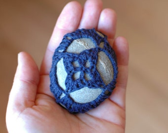 Navy Crocheted Stone / Crochet Pebble / Paperweight / Decoration / House Decor