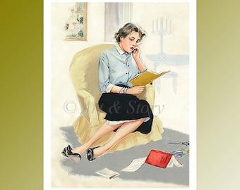 Comic Illustration Print | Graduating student 60s | Feminist Art | Gift for student | Teacher Appreciation | Vintage art print | Wim Knotter