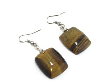 Square Tiger's Eye Stone Earrings; TIger's Eye Earrings, Brown Stone Earrings; Square Earrings, Stone Earrings, Boho Earrings