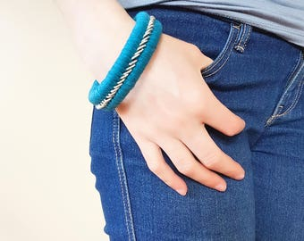 Repurposed Turquoise and Silver Bangle