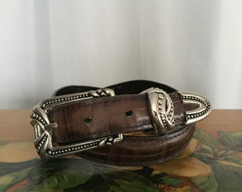 Brown Leather Belt Vintage Silver Metal Buckle size Small