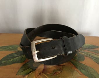 Black Leather Belt Silver Buckle Vintage Distressed Polo Ralph Lauren