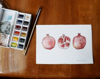 Original Watercolor Painting of Pomegranate - Simple, Fruit, Illustration