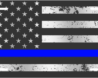 Distressed Black and white American flag with blue line police custom license plate