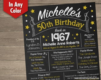 50th Birthday Chalkboard, 1967 Birthday Poster, Adult Birthday Chalkboard, Back in 1967, 50th Birthday Centerpiece, 50th Birthday Gift