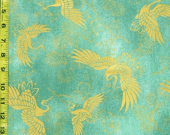 Quilt Gate - Japanese Asian Sewing Quilting Fabric - Celebration - Gold Metallic Cranes, Pines & Plum Blossoms - Teal