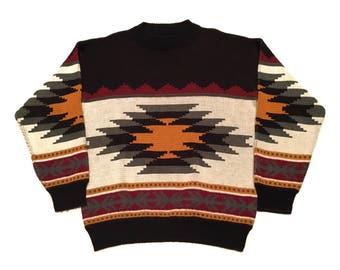 Vintage Aztec Crew Sweater Medium Bonjour International Black USA Made