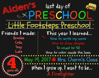 Last Day of School Sign - Preschool Sign - End of Year - Last Day of Preschool Sign - Last Day of School - ANY GRADE - Photo Prop