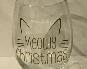 Stemless wine glass meowy christmas