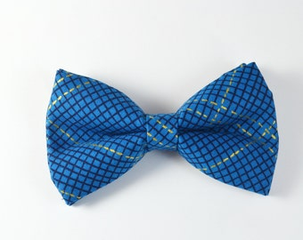 Blue, Navy and Gold Plaid Bow Tie And Pocket Squares For baby/Toddler/Teen/Adult/with Adjust strap/Clip on