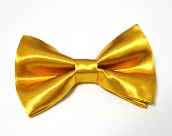 Gold Silk bow tie For baby/Toddler/Teen/Adult/with Adjust strap/Clip on