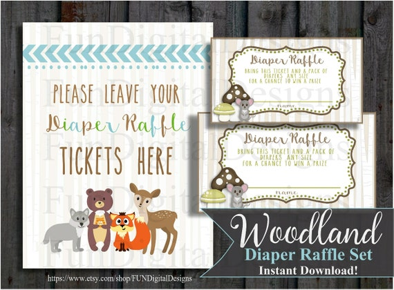 diaper raffle tickets woodland forest animals boho printable
