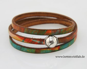 63 multicolor leather ball magnetic clasp bracelet