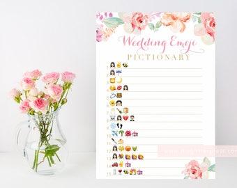 Floral Bridal shower game, Wedding Emoji Pictionary printable, floral watercolor, blush pink, downloadable shower game, INSTANT DOWNLOAD 003