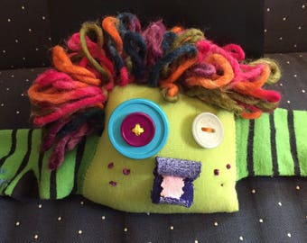 Stuffed Sock Critter; Quirky Handmade Sock Animal Made from Recycled Materials; OOAK  (Arugula)