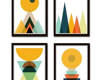 Set of 4 Prints Modern Minimalist, Scandinavian Digital Print, Abstract Print, Mountains Art, Geometric Print, Affiche Scandinave *45*