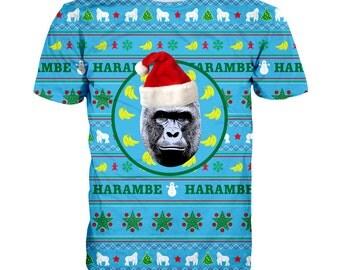 Harambe Christmas t-shirt- meme t-shirt, Harambe t-shirt,