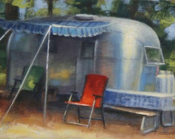 Airstream Study camping landscape oil painting 4 x 6