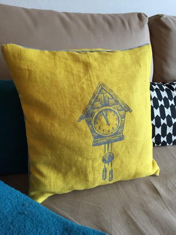 Cuckoo clock pillow yellow