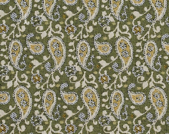 Green Traditional Paisley Jacquard Upholstery Fabric By The Yard | Pattern # E848