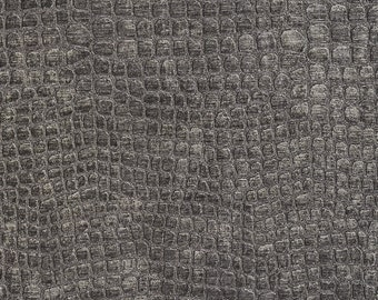 Dark Grey Textured Alligator Shiny Woven Velvet Upholstery Fabric By The Yard | Pattern # A0151L