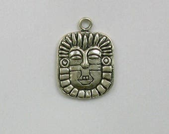 925 Sterling Silver Mayan Mask Charm, Travel and Places Theme Jewelry - TR195