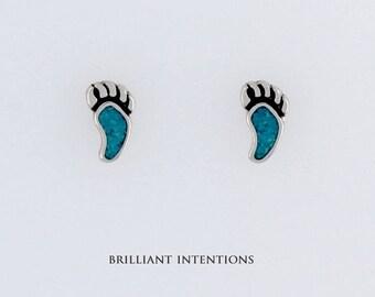 925 Sterling Silver Turquoise Bear Paw Design Post or Stud Earrings, Gemstone & Fine Jewelry - BI-662