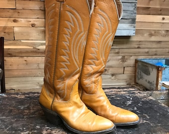Vintage Nocona Tall Western Boots Vtg Light Brown Leather Cowboy Boots Women's Size 5 1/2B