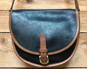 RARE Early Vintage Coach Crossbody Satchel Vtg Two Tone Leather Designer Handbag Made in USA