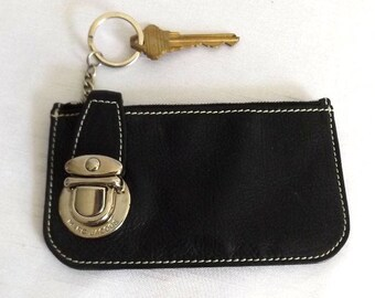 Marc Jacobs Key Chain, Marc Jacobs Card Case - Black leather Coin Purse - Designer Leather Coin Pouch - Vintage
