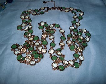 Costume Jewelry Double Strand Green/ Clear Necklace