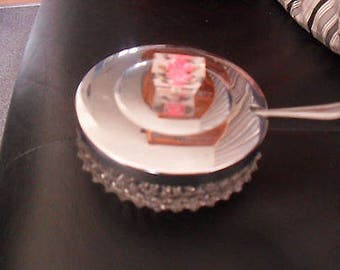 Vintage Glass Butter Jam Dish with Knife