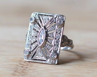 Art Deco Marquise Diamond Ring - Art Deco Engagement Ring - Vintage Engagement Ring - 1930s Statement Ring - Art Deco Diamond Ring