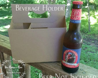 "6 Pack Beer Carrier  • 12 Oz Bottle Holders •  Kraft Cardboard Beverage Carrier • 7-5/8""  x 5-1/4""  x 8"" • Craft Beer • Home Brew • Blank"