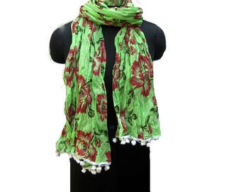 Floral print scarf/ cotton scarf/ lace scarf/ gift  scarf / green scarf/ /  gift ideas.