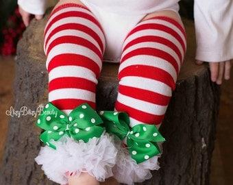 Girls Red And White Striped Leg Warmers Bottoms Green Polkadot Bow Christmas Pants White Chiffon