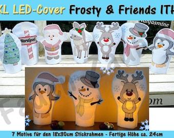 XL LED Kerzen-Cover Frosty & friends 18 x 30 frames