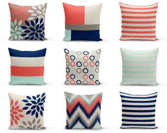 Outdoor Pillows, Coral Beige Aqua Navy Grey, Outdoor Home Decor, Outdoor Throw Pillows