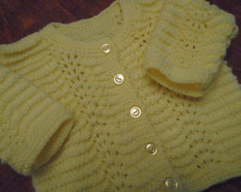 Yellow Hand Knit Baby Sweater/6 Month Size/Baptismal Gift/Shower Gift