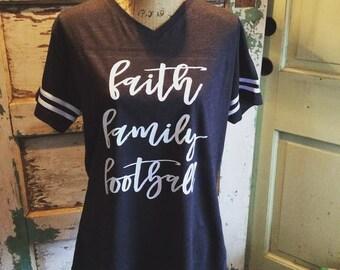 Faith Family Football Shirt, Football Shirt, Sunday Funday Shirts, Game Day Shirts, Womens Shirt, Football Shirts