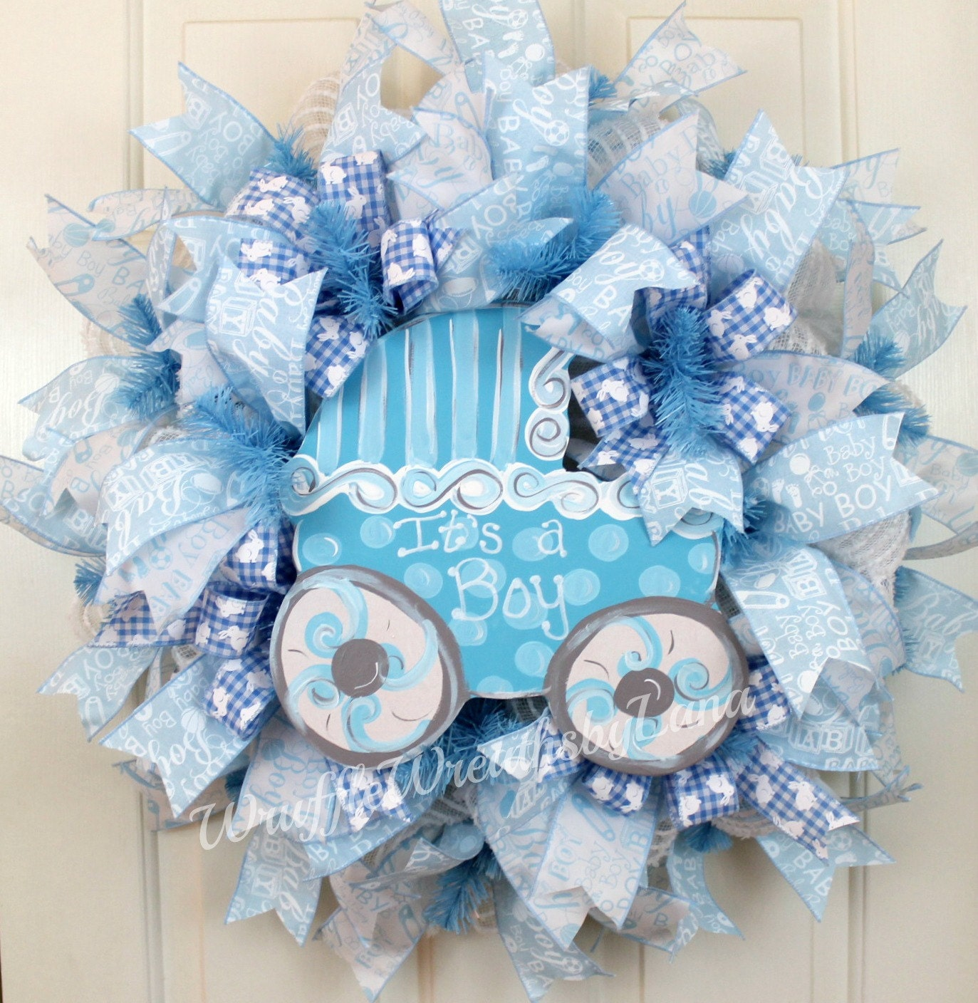 Baby boy deco mesh wreath baby boy wreath baby carriage - Deco boy ...